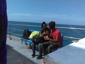 David sharing the gospel on the boat. This young lady gave her life to Jesus.
